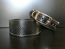 S/M Leather Dog Collar LINED Greyhound Whippet BLACK REPTILE SMALL PATTERN