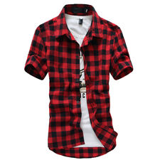 Men's Plaid Short Sleeve Shirt Slim Fit Button Down Formal Casual T-shirt Tops