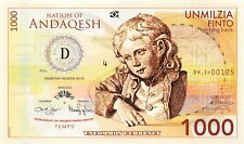 Nation of Andaqesh Banknote 1000 Finto 2014  Unc Specimen, Private, Note