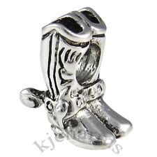 Cowboy Boot Shoe Silver European Spacer Charm Bead For Bracelet Necklace EB654