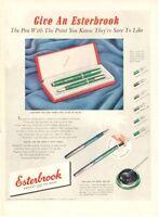 1950 Esterbrook PRINT AD features & details 2 pc Pen Set / Desk set Nice vintage