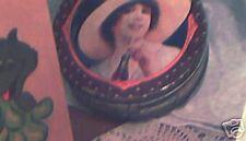 Round Coca-Cola Tin - Lady drinking a Coke - Coke Tin