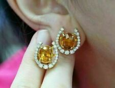 2Ct Oval Cut Yellow Citrine Diamond Stud Earrings 14K Yellow Gold Finish