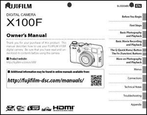 FujiFilm FinePix X100F Digital Camera Owner's  Manual User Guide Instruction
