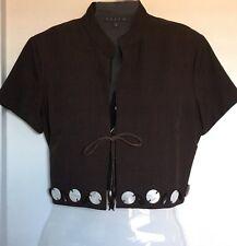 VESTI,Bolero Jacket/Vest/Shrug Cropped Cardigan,Brown,Size 8,Brown,Embelishment