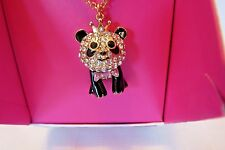 Genuine Betsey Johnson Gifting Gold Tone Crystal Panda With Crown Pendant NIB