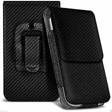 Black Carbon Fibre Leather Pouch Belt Clip Case Cover For Various HTC Phones