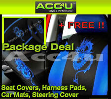 13 Pc Black Blue Dragon Logo Car Seat Covers Set+Mats+Steering Cover+Harness Pad