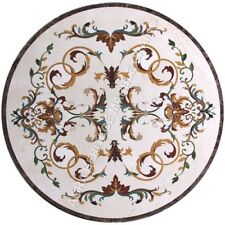 "30"" White Round Marble Coffee Center Table Top Italian Inlaid Patio Decor H4832A"