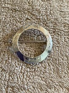 Vintage Sterling Silver Etched Circle Brooch Pin