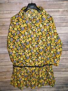 Alaska Native Eskimo Kuspuk L Black Purple Yellow Pansy Floral Tunic Shirt Dress