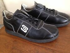 ESSEutESSE SUS Mens BLACK Leather Trainers Sneakers Shoes 41 US 8 Worn Once MINT