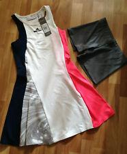 New Adidas Stella McCartney Barricade Dress & Shorts, Blue / White / Pink, UK 4