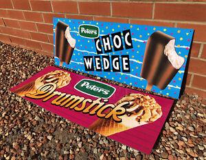 Original Peters Ice Cream Choc Wedge & Drumstick Milk Bar Signs