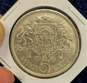 Latvia: 1929 5 Lati Silver Crown Size Coin