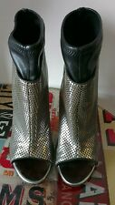 Giuseppe Zanotti metallic peep toe sock ankle boots 37.5 UK 4 1/2 vgc