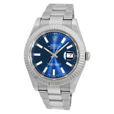 ROLEX Stainless Steel 41mm Datejust II Blue 116334 White Gold Bezel Box MINTY