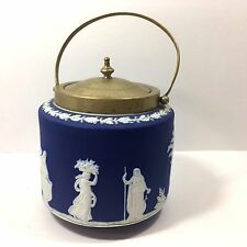 "Biscuit Barrel Wedgwood Cobalt Blue Jasperware, Rare 19th C. ""Sacrifice Figures"""