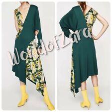 7eb09399 Zara Woman Studio Combined Asymmetric Sleeves Dress Green Yellow 7951/681  Xs-s