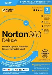 Norton 360 Deluxe 2020 3 Devices 3 PC 1 Yr Secure VPN Internet Security 2021 Box