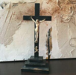 Ancien Christ Crucifix Bois Noirci et Os Bovin XVIII Religion Jésus Croix 18thC
