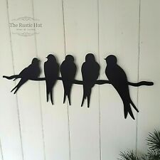 Swallows on a Wire Black Painted Metal Garden Wall Art Decoration