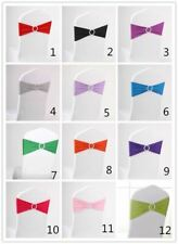 10 PCS / 20 Colors Spandex Stretch Double Hemmed Wedding Chair Sashes + Buckle