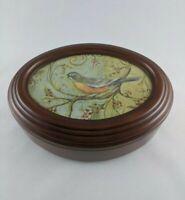 Vtg Oval Wooden Music Jewelry Box Vanity Photo Insert Velvet Sankyo Movement EUC
