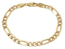 """14K Yellow Gold Figaro Bracelet Solid Link Chain 7"""" 5.3mm 5.9 grams"""