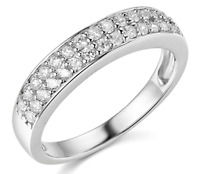 1.65 Ct Round Real 14k White Gold Double-Row Pavé Wedding Anniversary Band Ring