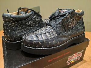 Los Altos Genuine BLACK Caiman Crocodile Ostrich Casual Shoes Lace 7 EE Black