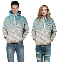 Men Women 3D Beach Printed Hoodie Sweatshirt Hooded Sweater Pullover Jacket Coat