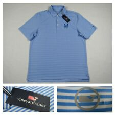 Vineyard Vines Performance Mens Large Blue Striped Golf Stretch Polo Shirt New