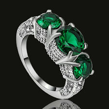 Green Emerald CZ Engagement Ring 10kt White Gold Filled Wedding Band Size 6-10 6