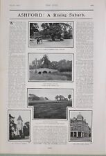 1903 PRINT ASHFORD STANWELL ROAD FORD BRIDGE NEW LINKS HOTEL MANOR GOLF