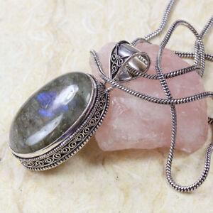 "Firey Labradorite 925 Silver Plated Handmade Gemstone Necklace of 24"" Ethnic"