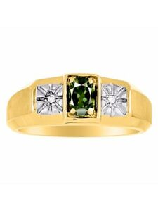 Exotic Green Sapphire & Diamond Ring set in 14K Yellow or 14K White Gold MR2866G
