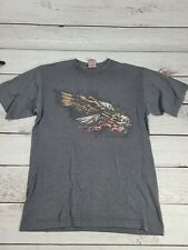 Vintage JNCO Jeans Gray Eagle Skill Printed Short Sleeve Skater T-Shirt  M T4