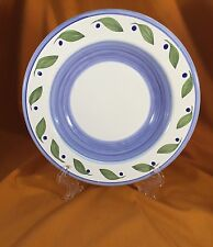 "Williams Sonoma Perisol Italy 9 1/2"" Soup Pasta Bowl White Blue Green Leaves"