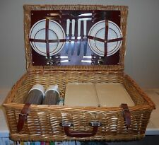 Vintage Biltons Wicker PicNic Basket 4 Person Complete Set England Tailgating