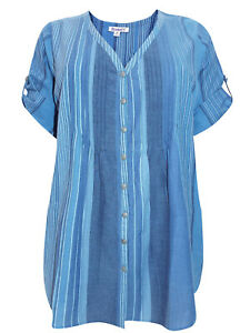 Pure Cotton Striped Tab Sleeve Shirt by Roamans Plus size 18 22 28 32