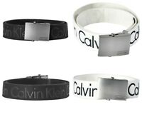 Calvin Klein Men's CK Logo Cotton Adjustable 38mm Canvas Dress Belt 73545