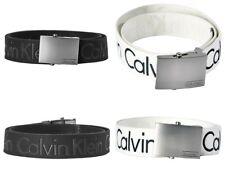 Calvin Klein Masculino CK logotipo Ajustável 38mm Lona Algodão Cinto Social 73545