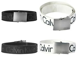 Calvin Klein Men's CK Logo Cotton Adjustable 38mm Canvas Dress Belt 73545