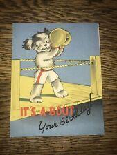 Vtg Birthday Card Dog Boxing Ring Sports 1940's Paper Boston Terrier