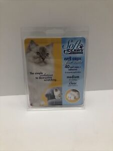 Soft Claws Nail Caps for Cats and Kittens, Medium 9-13lbs, Clear, NIP