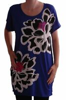 Womens Long Floral Print Casual Short Sleeve Scoop Neck Loose T-Shirt Tunic Tops
