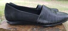 ECCO Womens Black Leather/Textile Slip On Ballet Flats Sz 37