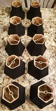 10 Black  Chandelier Lamp Shades w/ Gold Lining (clip on)