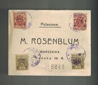 1919 Warsaw Poland  Cover Overprints M Rosenblum Judaica